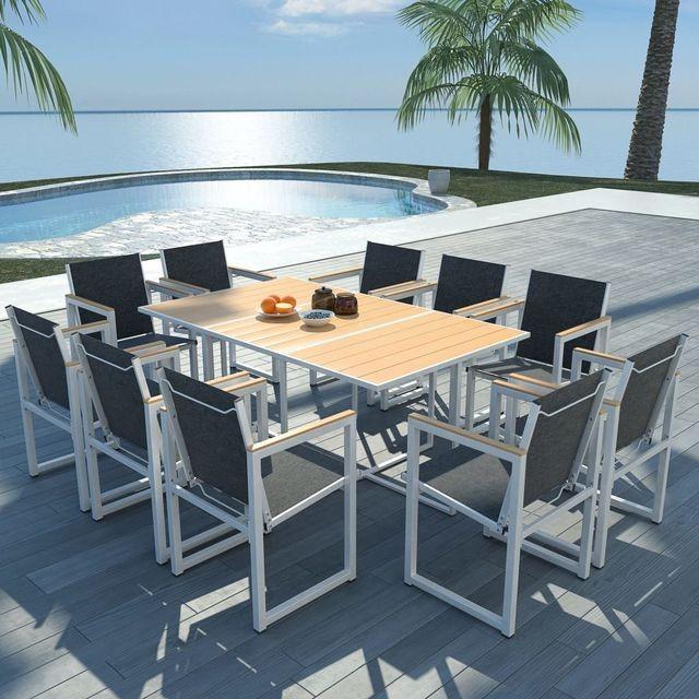 Set mobilier exterior 11 piese 165x100x72 cm, aluminiu WPC maro