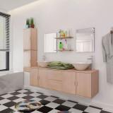 Set mobilier baie 11 piese cu chiuvete și robinete incluse, Bej