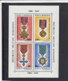 ROMANIA 1994  LP 1366  DECORATII  MILITARE  BLOC  MNH, Nestampilat