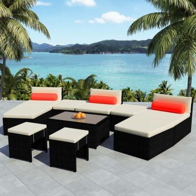 Set mobilier de grădină modular, 25 piese, poliratan, negru foto