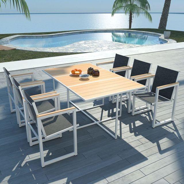 Set mobilier exterior 7 piese 165x100x72 cm, aluminiu WPC, maro