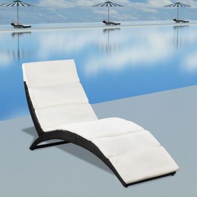 Șezlong pliabil din poliratan cu saltea, negru foto