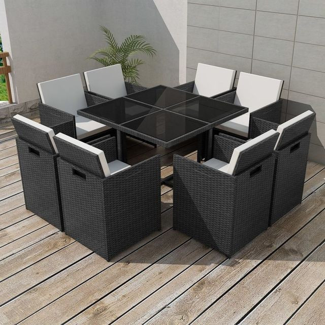 Set mobilier de exterior 25 piese, poliratan, negru foto mare