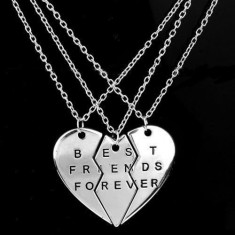 Pandantiv / Medalion / Colier / Lantisor / BFF - Best Friends Forever - 3 Bucati