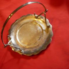 Fructiera metal argintat EPNS Anglia , d= 14,2 cm ,cu toarta