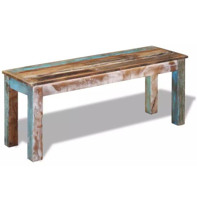 Bancă solidă din lemn reciclat 110 x 35 x 45 cm foto mare