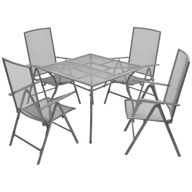 Set mobilier de exterior, rabatabil 5 piese, plasă din oțel