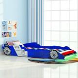 Pat copii mașină de curse, cu LED, 90 x 200 cm, albastru