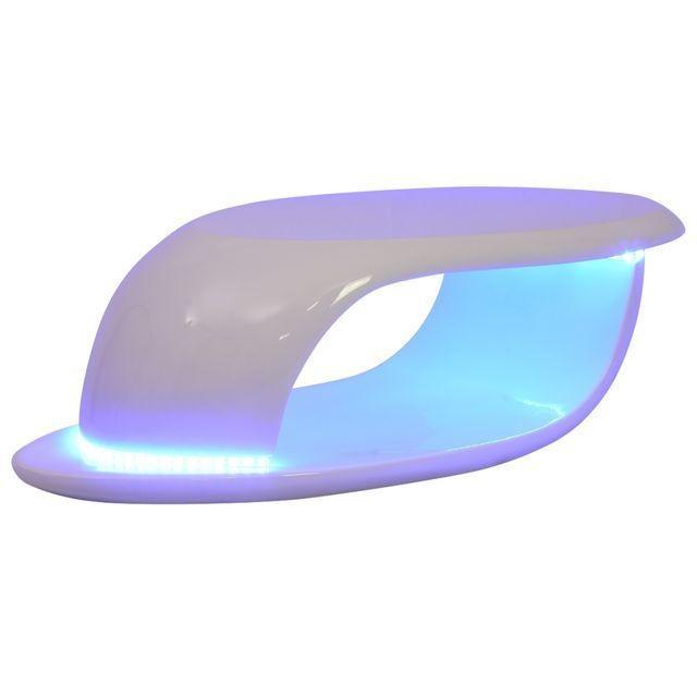 Măsuță de cafea, LED, din fibră de sticlă lucioasă, albă