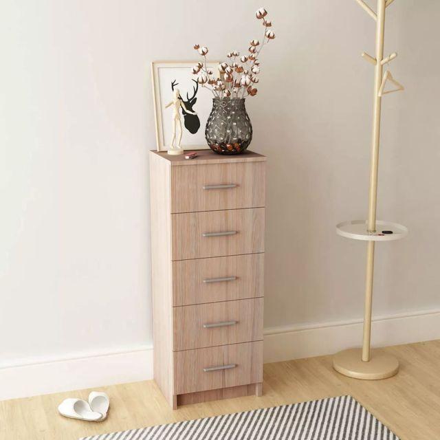 Comodă înaltă cu sertare din PAL 41x35x108 cm, stejar