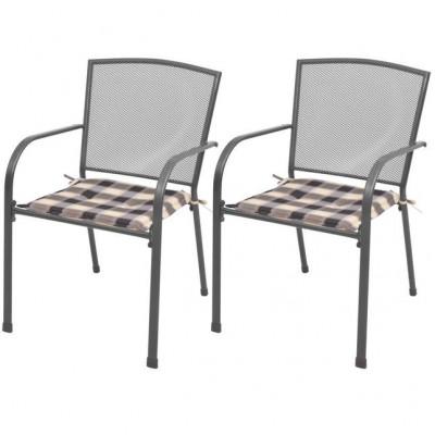 Scaune de exterior stivuibile cu perne, 2 buc, plasă din oțel foto
