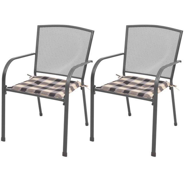 Scaune de exterior stivuibile cu perne, 2 buc, plasă din oțel