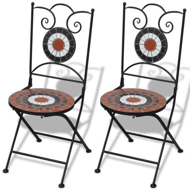 Set de 2 scaune din mozaic, culoare teracota și alb foto mare