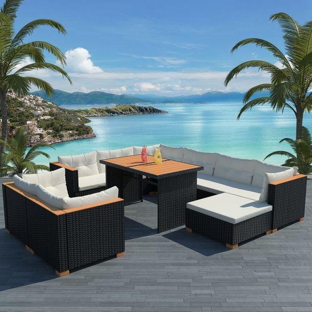 Set mobilier de grădină, 32 piese, poliratan, blat WPC, negru foto mare