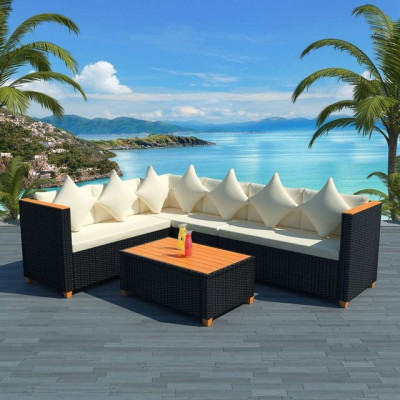 Set canapea grădină, 21 piese, poliratan, blat WPC, negru foto
