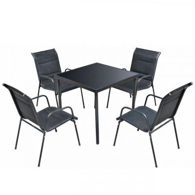 Set mobilier de exterior 5 piese, negru foto
