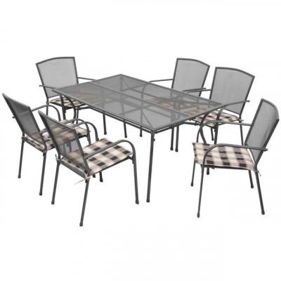 Set mobilier de exterior cu perne, 13 piese, plasă din oțel foto