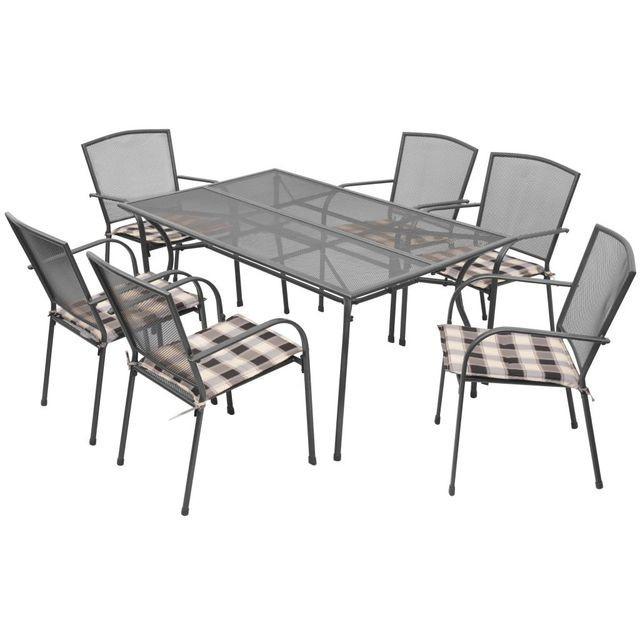 Set mobilier de exterior cu perne, 13 piese, plasă din oțel foto mare