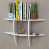 Raft suspendat pe perete din MDF pentru depozitare cărți/DVD-uri, alb