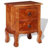 Noptieră cu sertare din lemn masiv de acacia