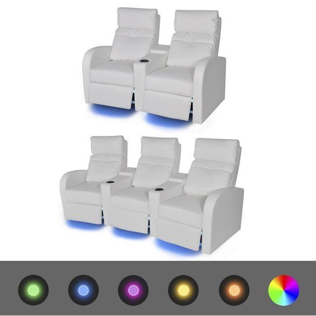 Canapea rabatabilă LED 2+3 locuri piele artificială 2 piese alb