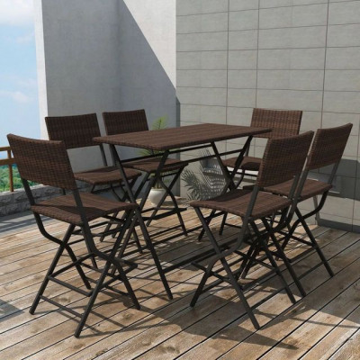 Set mobilier de exterior 7 piese, poliratan, maro foto