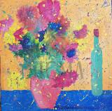 "TABLOU, ALEXANDRU MANEA ""VAS CU FLORI"", Acryl pe Panza, 2017, Dimensiuni: 70cm. X 70cm."