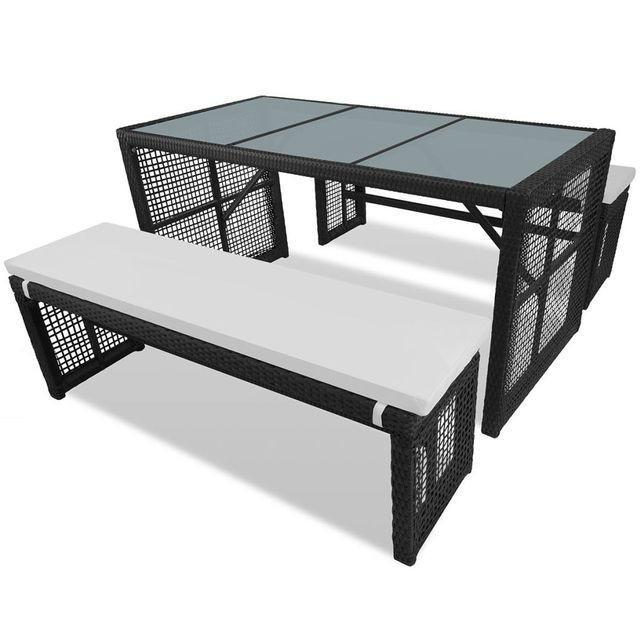 Set mobilier de exterior 5 piese, poliratan, negru