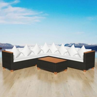 Set mobilier de grădină 25 piese, poliratan și blat WPC, negru foto