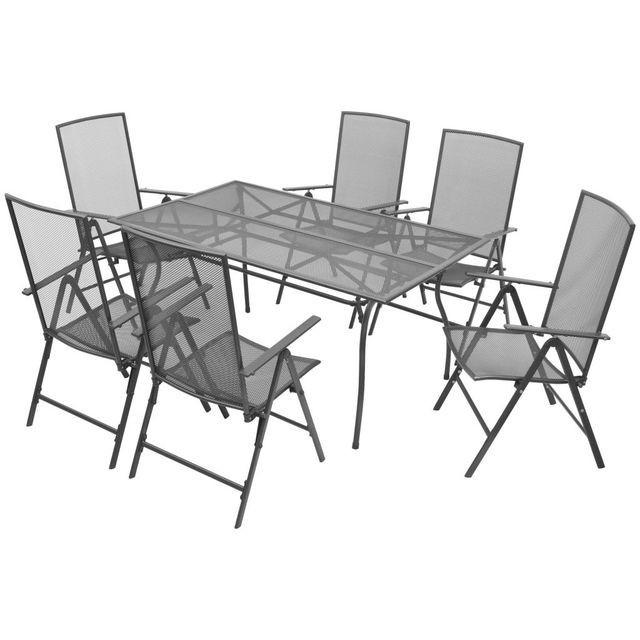 Set mobilier de exterior, rabatabil, 7 piese, plasă din oțel foto mare
