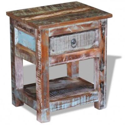 Masă laterală cu un sertar din lemn solid de mango, 43 x 33 x 51 cm foto