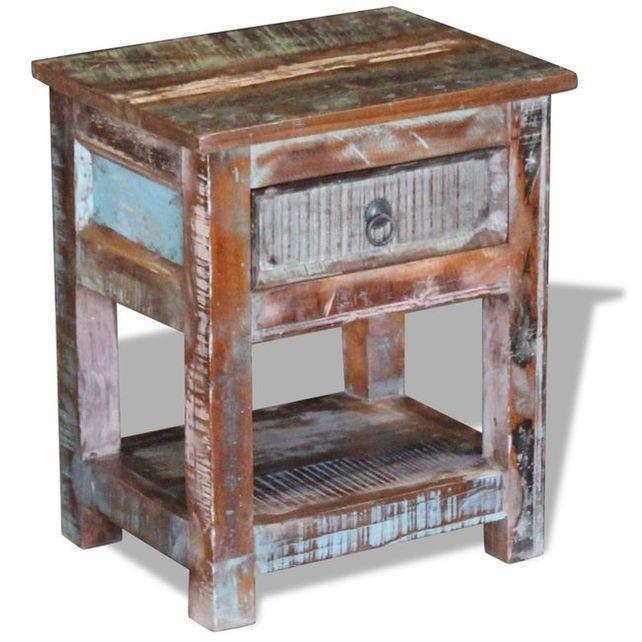 Masă laterală cu un sertar din lemn solid de mango, 43 x 33 x 51 cm foto mare