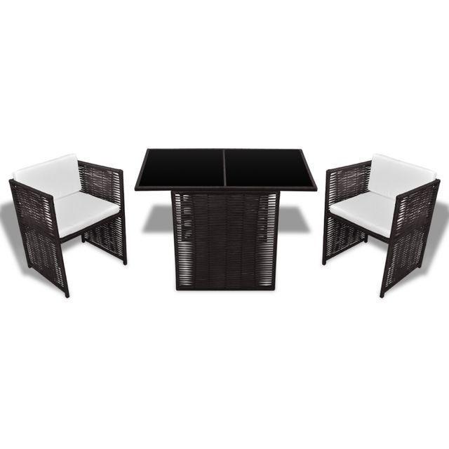 Set mobilier de exterior 7 piese, poliratan, maro
