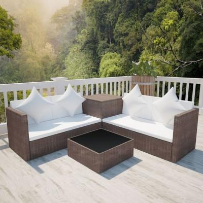 Set mobilier de exterior, 14 piese, poliratan, maro foto