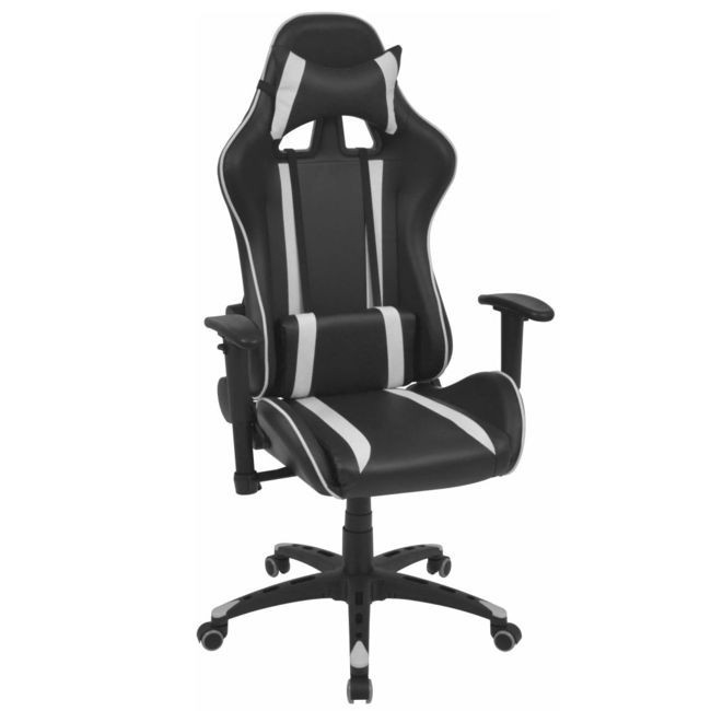 Scaun birou rabatabil cu design racing, piele artificială, alb foto mare