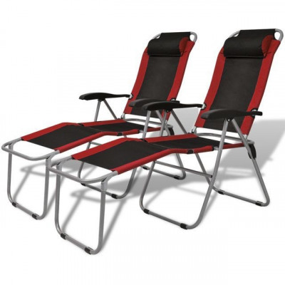 Scaun de camping rabatabil, roșu și negru, 2 buc. foto