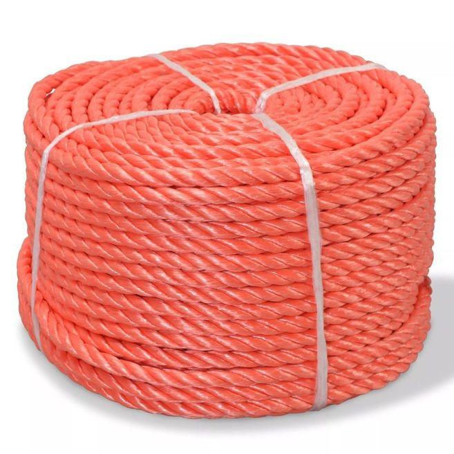 Frânghie împletită polipropilenă 10 mm 100 m, portocaliu