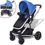 Căruț/cărucior pentru copii 2 în 1 din aluminiu, albastru și negru