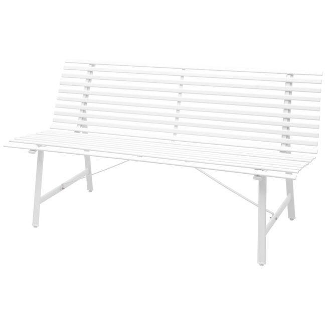 Banca de gradina din o?el, 150x62x80 cm, alb