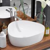 Chiuvetă baie din ceramică, triunghiulară, 50,5x41x12 cm, alb