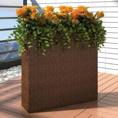 Ghiveci rectangular din ratan pentru grădină, 1 buc, Maro foto
