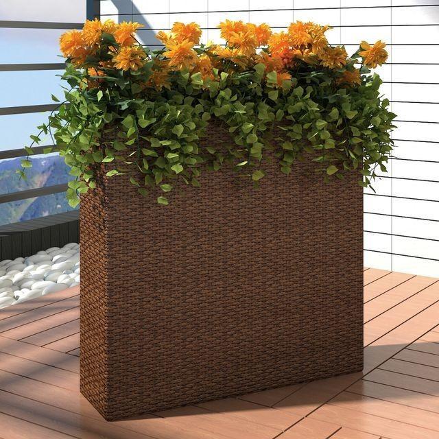 Ghiveci rectangular din ratan pentru grădină, 1 buc, Maro foto mare
