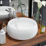 Chiuvetă de baie din ceramică, rotundă, 40 x 16 cm, alb