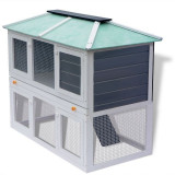 Cușcă pentru iepuri și alte animale cu două niveluri, lemn