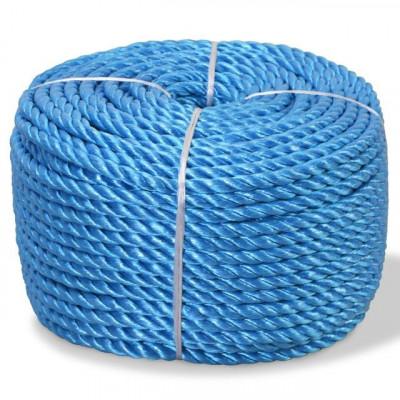 Frânghie împletită polipropilenă 10 mm 100 m, albastru foto