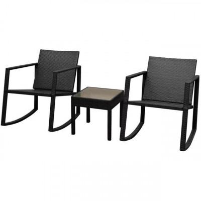 Set scaun balansoar cu masă, 3 piese, poliratan, negru foto