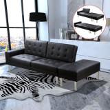 Canapea extensibilă din piele artificială, negru