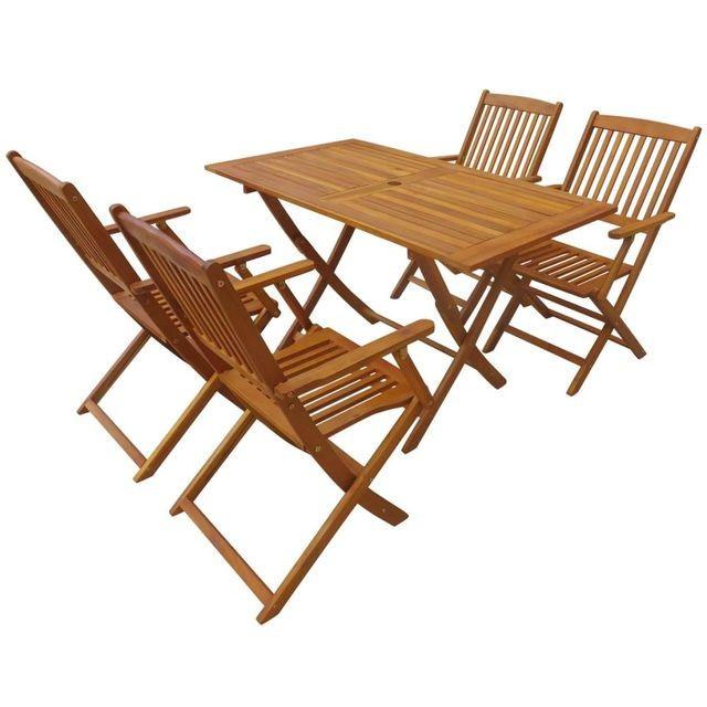 Set mobilier de exterior pliabil, 5 piese, lemn de acacia foto mare