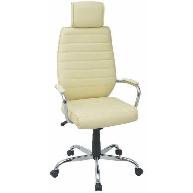Scaun de birou, piele artificială, alb-crem