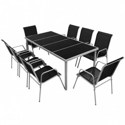 Set mobilier de exterior 9 piese, negru foto